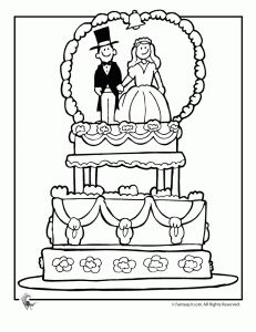 231x300 Fancy Wedding Cake Coloring Page Coloring Books Pages