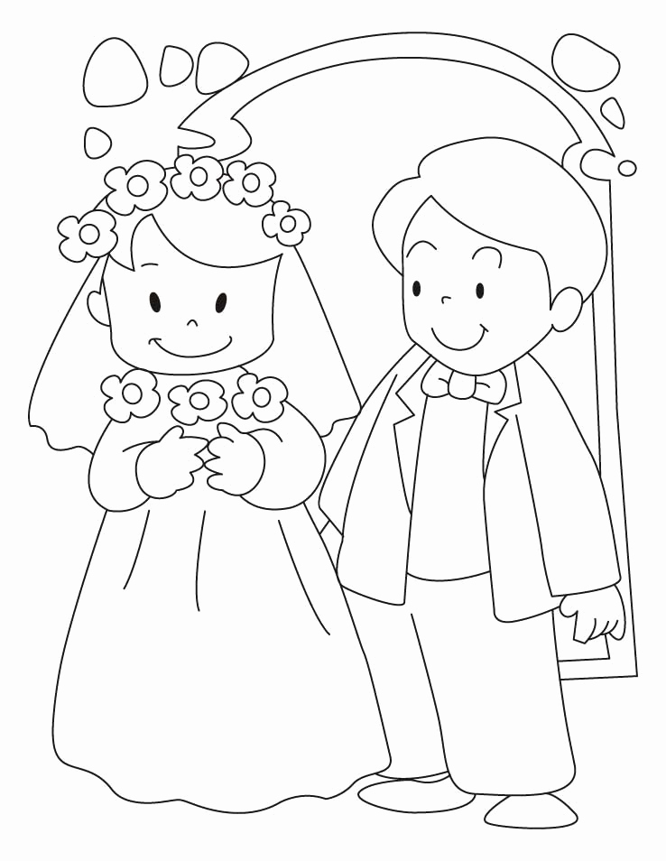 738x954 Free Bride And Groom Printable Coloring Page Wedding Party