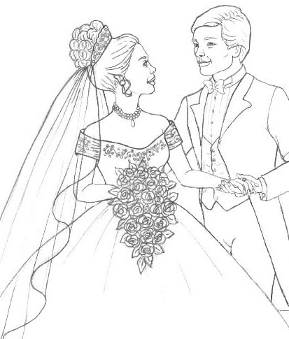 413x485 Wedding Flowers Coloring Pages