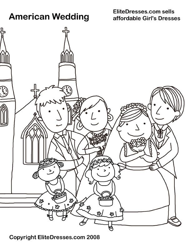 612x792 Wedding Party Coloring Page, Picture, Colour Wedding Activities