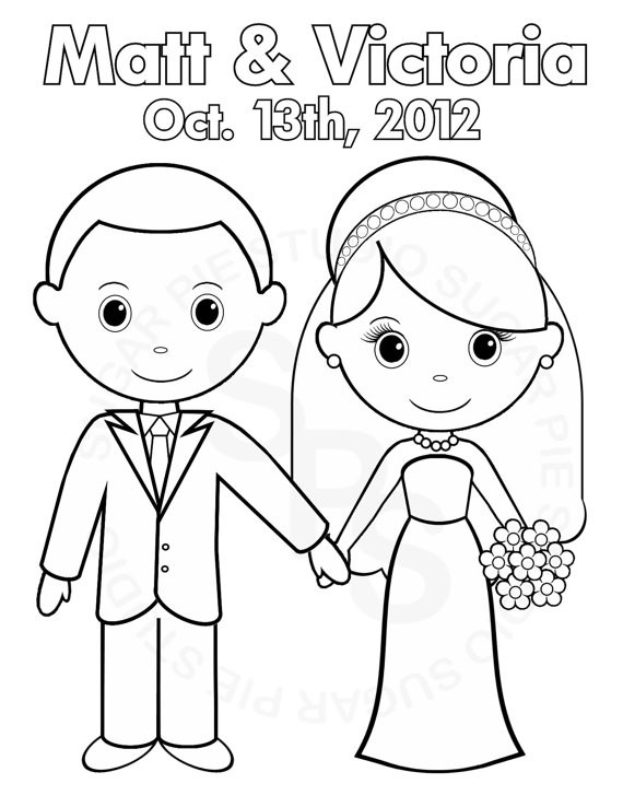570x738 Bride And Groom Coloring Pages Elegant Personalized Printable