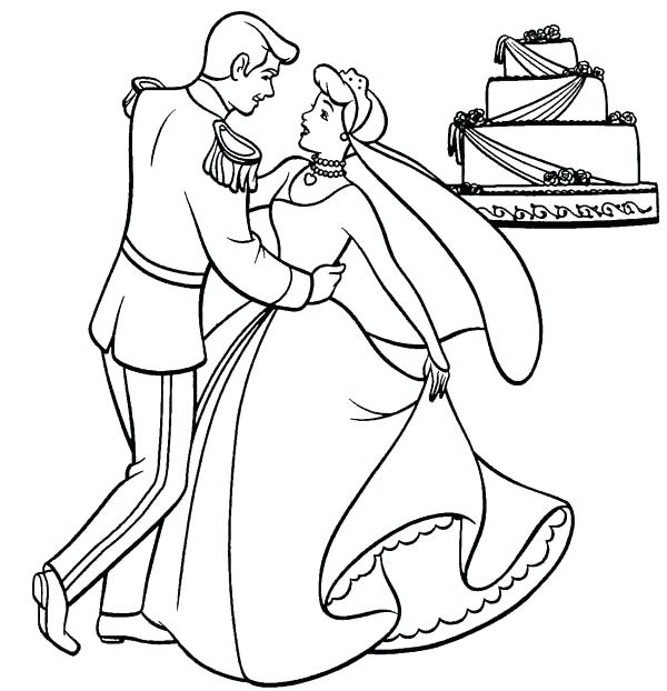 600x622 Cinderella Coloring Pages Free And Prince Charming Dance Their