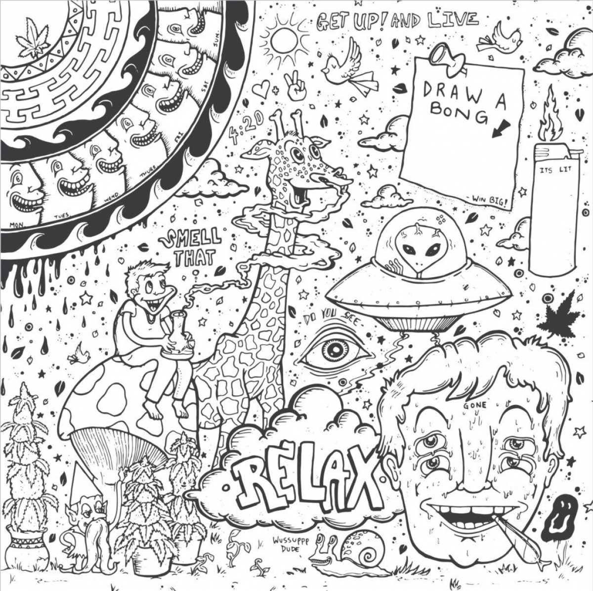 1200x1196 Sweet Design Trippy Coloring Pages Mushrooms To Print Weed Book