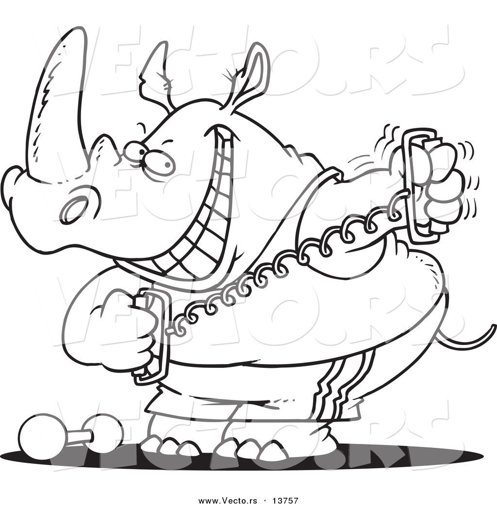 1024x1044 Vector Of A Cartoon Workout Rhino Using A Stretching Device