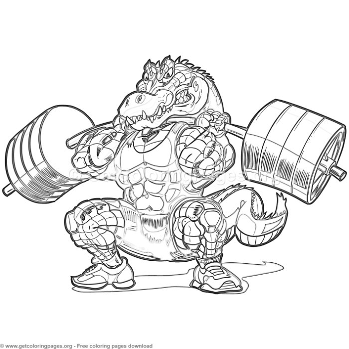 700x700 Weightlifting Alligator Coloring Pages