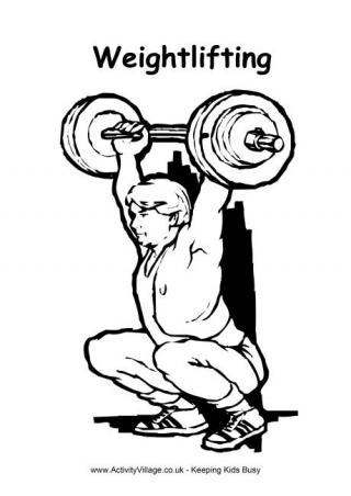 320x452 Weightlifting Colouring Page