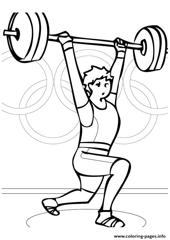 595x842 Weightlifting Olympic Games Coloring Pages Printable