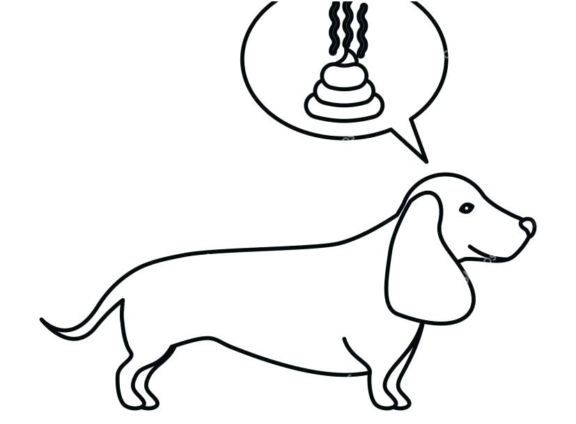 827x609 Weiner Dog Coloring Pages Black Contour With Dachshund Dog Poop