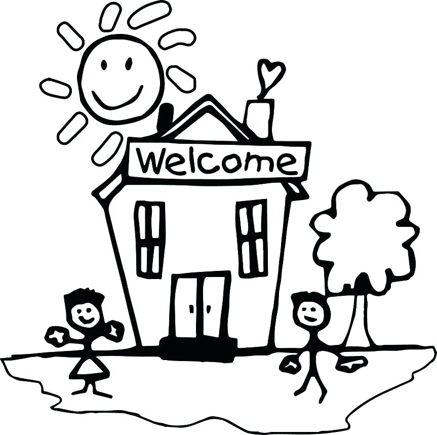 863x859 Welcome Back Coloring Pages This Is To School Free Images Page