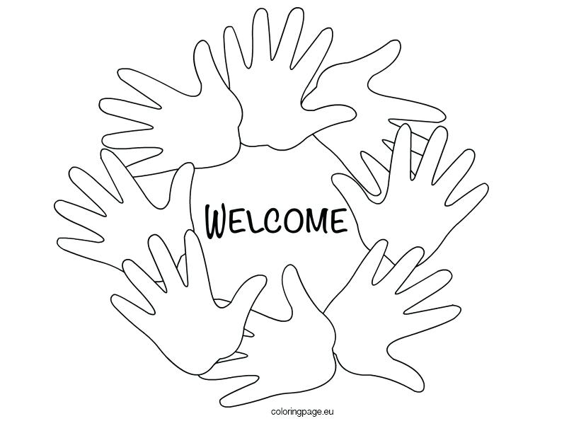804x595 Welcome Back Coloring Pages Welcome Hands Black And White Coloring