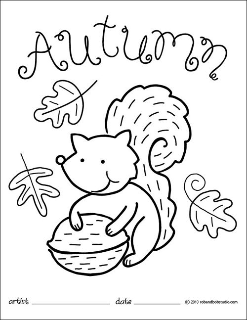 500x647 Autumn Squirrel Coloring Page Party And Lesson Planning