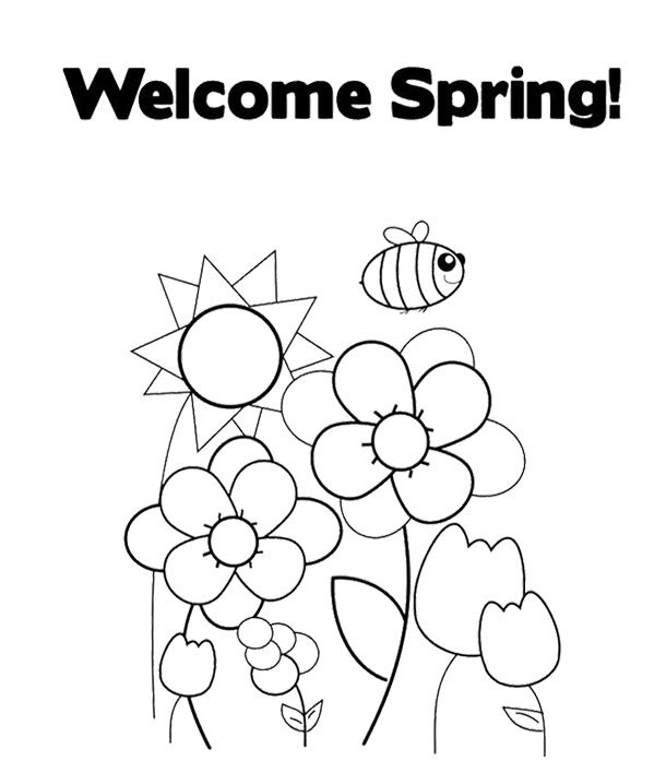 610x697 Welcome Spring Coloring Page For Kids Kids Coloring Pages