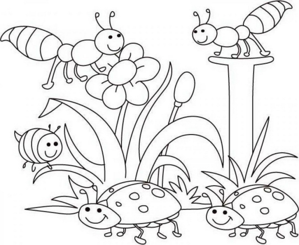 1048x857 Welcome Spring Coloring Page For Kids Seasons Pages