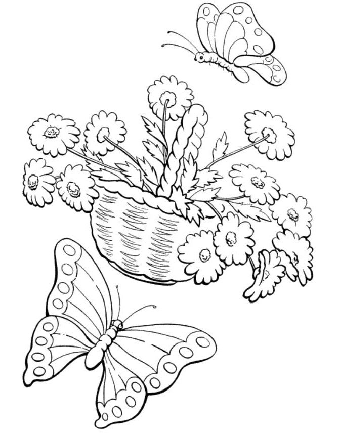 670x856 Welcome Spring Coloring Pages Butterflies With Flowers Coloring