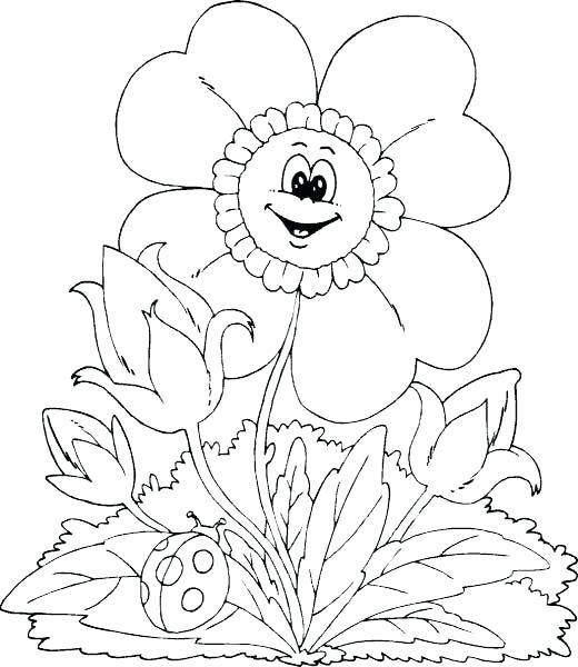 520x600 Smile Flower Welcome Spring Coloring Kids Spring Day Cartoon