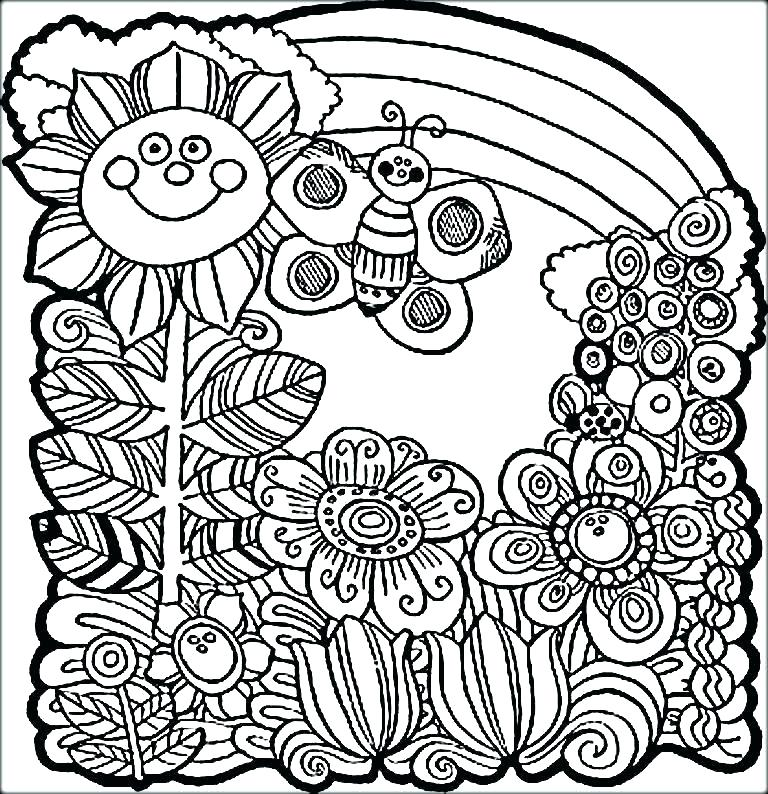 768x794 Spring Color Pages Smile Flower Welcome Spring Coloring Sheets