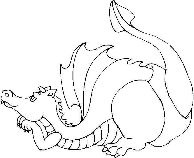 666x542 Welsh Dragon Colouring Page Realistic Dragon Coloring Pictures