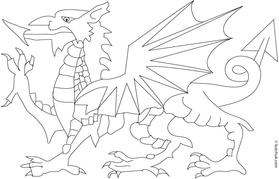 938x602 Welsh Dragon Flag Colouring Page Coloring Pages