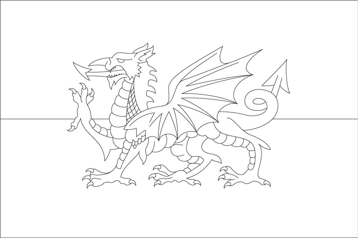 1181x788 Dragon Coloring Pages Welsh Flag Colouring Page