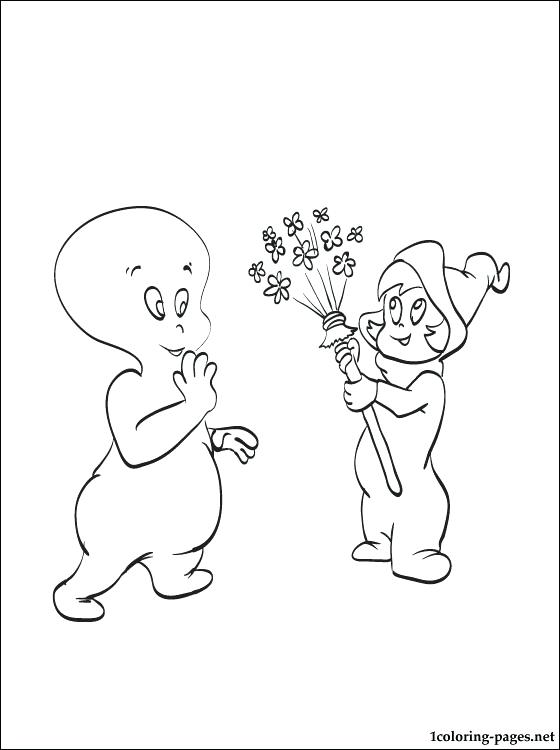 560x750 Casper Coloring Pages Good Ghost With Little Girl Coloring Page