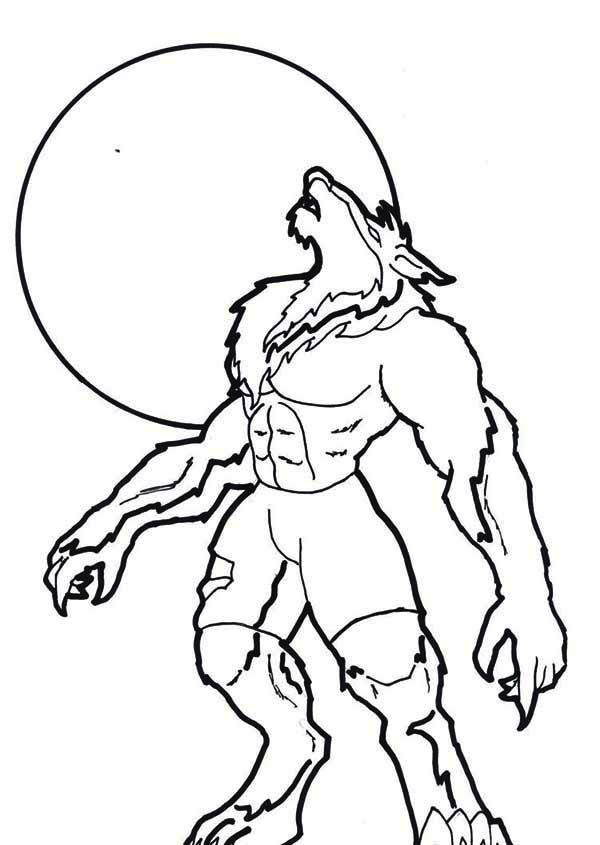 600x845 Werewolf Coloring Pages Lineart Classic Movie Monsters