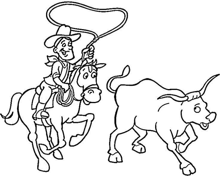 736x587 Images Of Cowboy Cattle Drive Coloring Pages