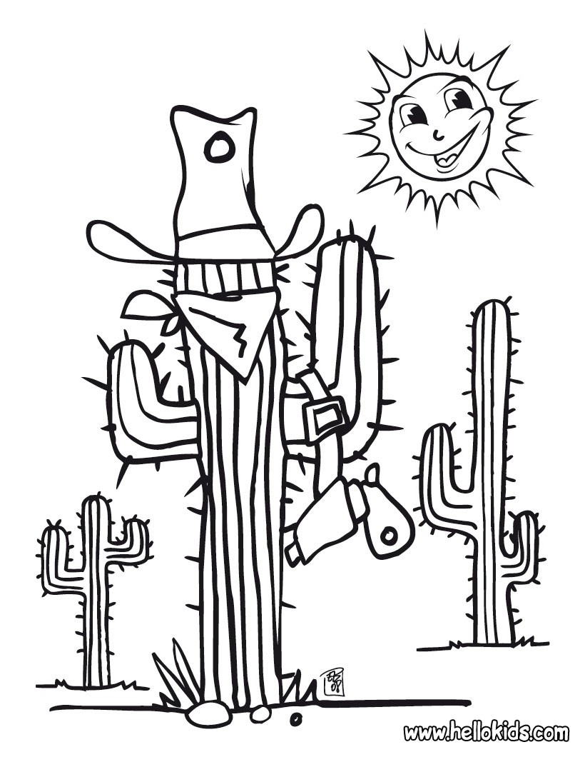 820x1060 A Ordable Western Coloring Sheets Cactus Pages