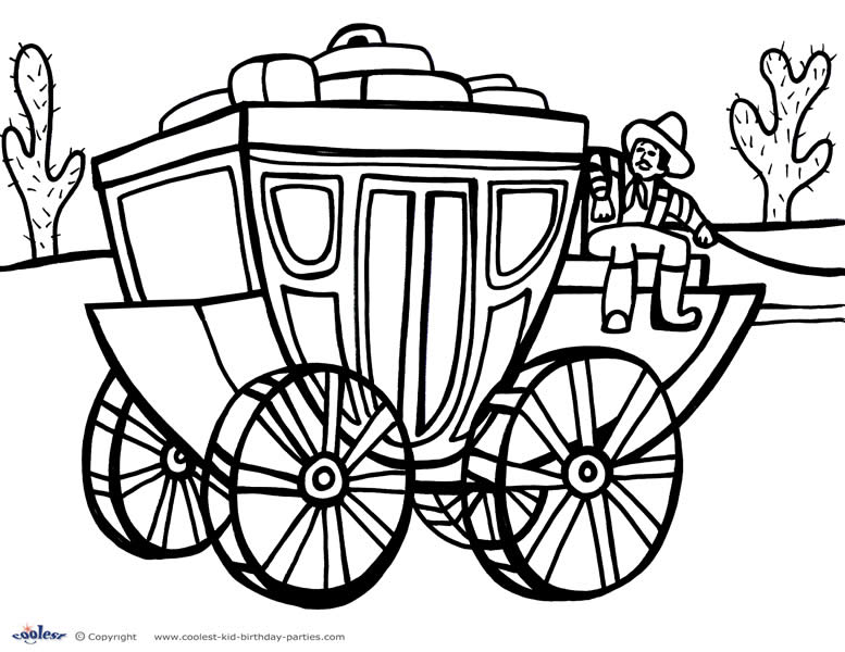 777x600 Printable Wild West Coloring Page
