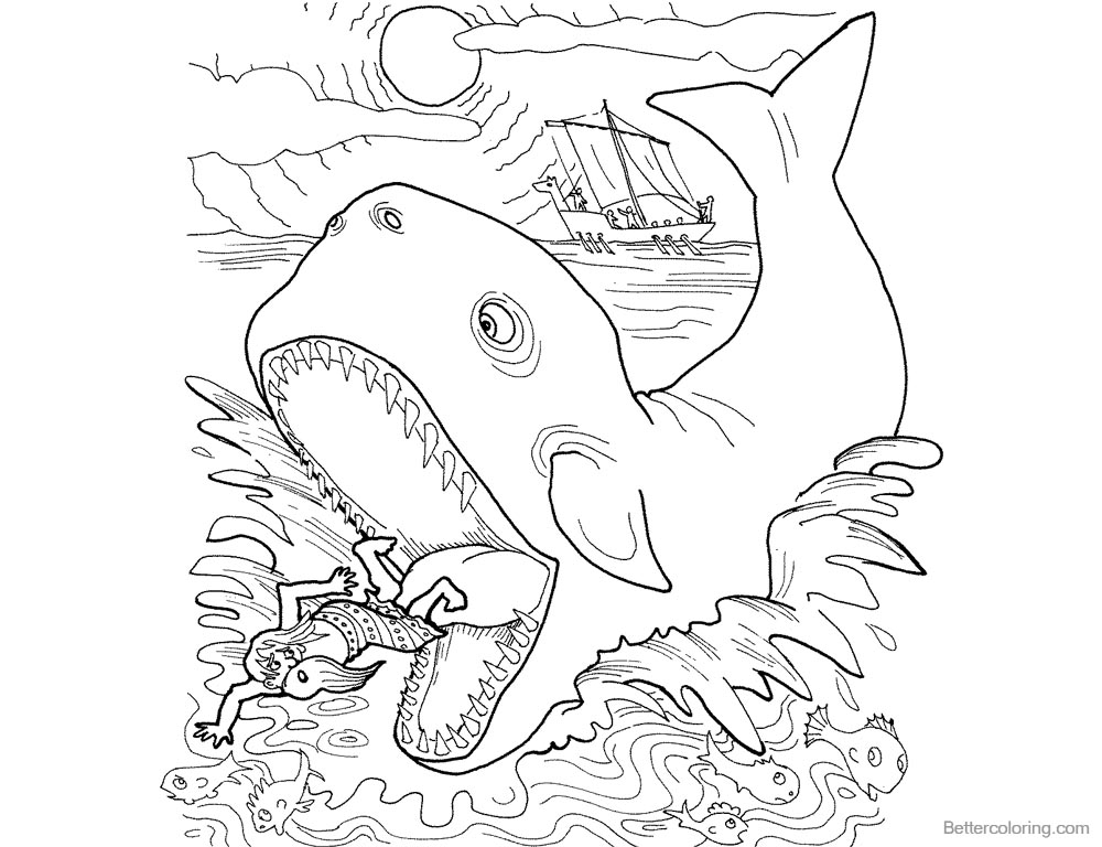 1000x768 Jonah And The Whale Coloring Pages Whale Swallowed Jonah