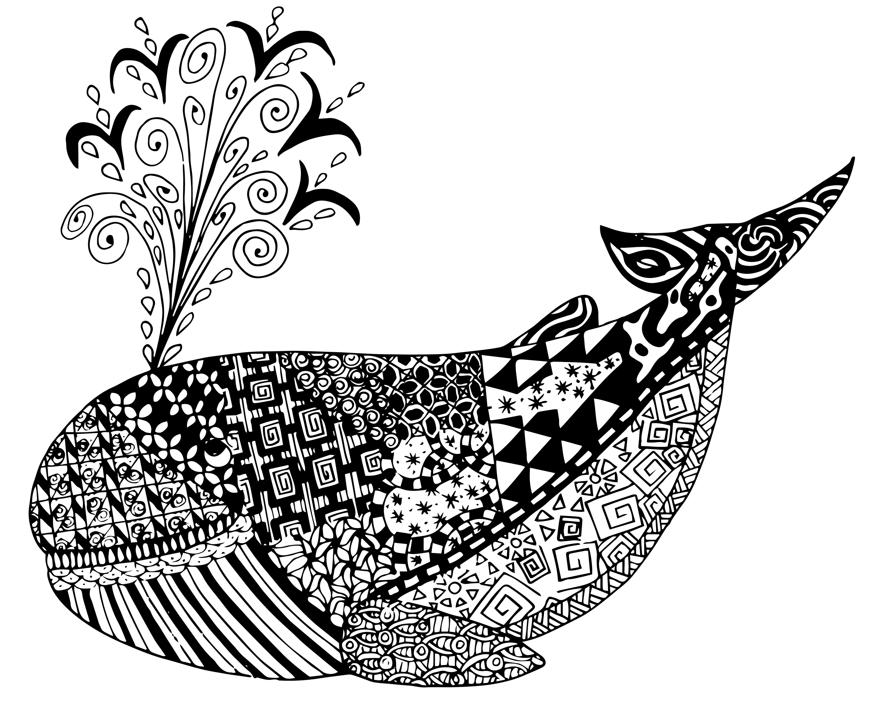Whale Coloring Pages For Adults