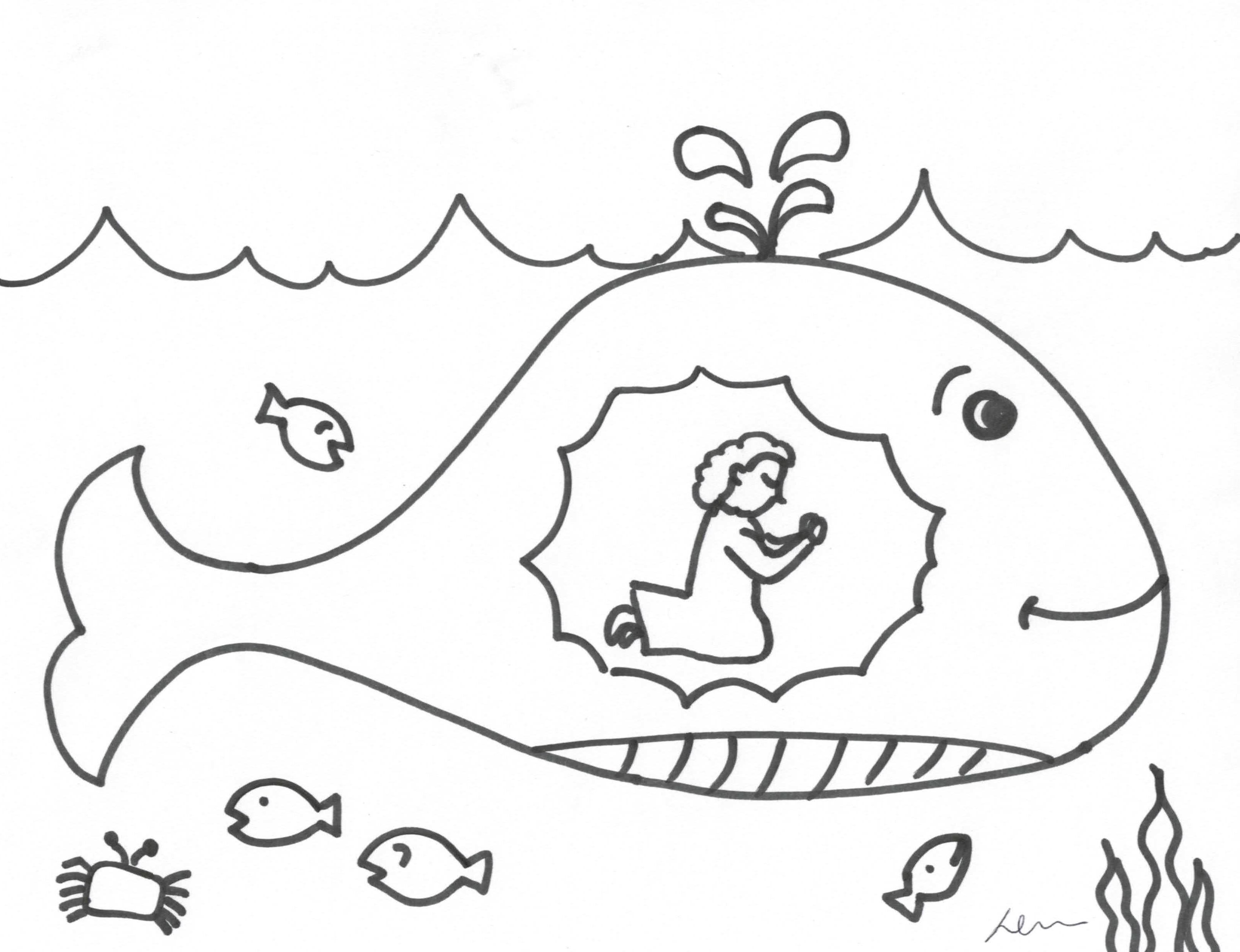3229x2480 Jonah And The Whale Coloring Page