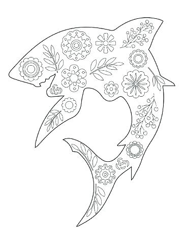 366x450 Whale Shark Coloring Pages Shark Coloring Floral Shark Coloring
