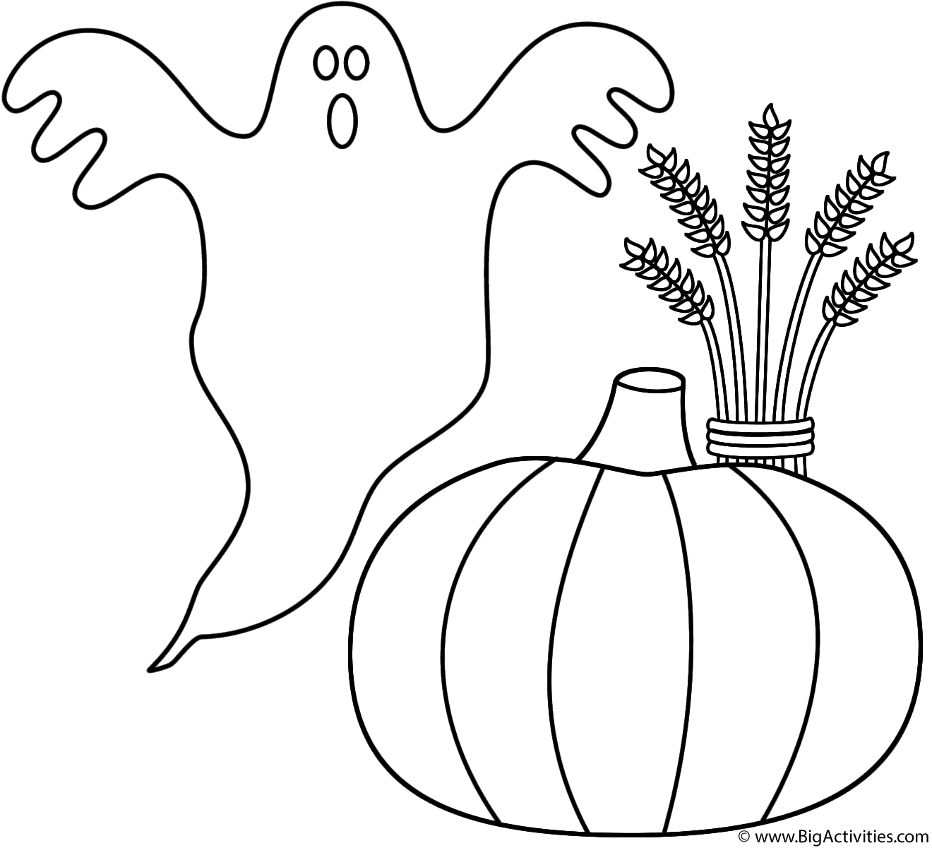 1320x1201 Ghost With Pumpkin And Wheat Sheaf