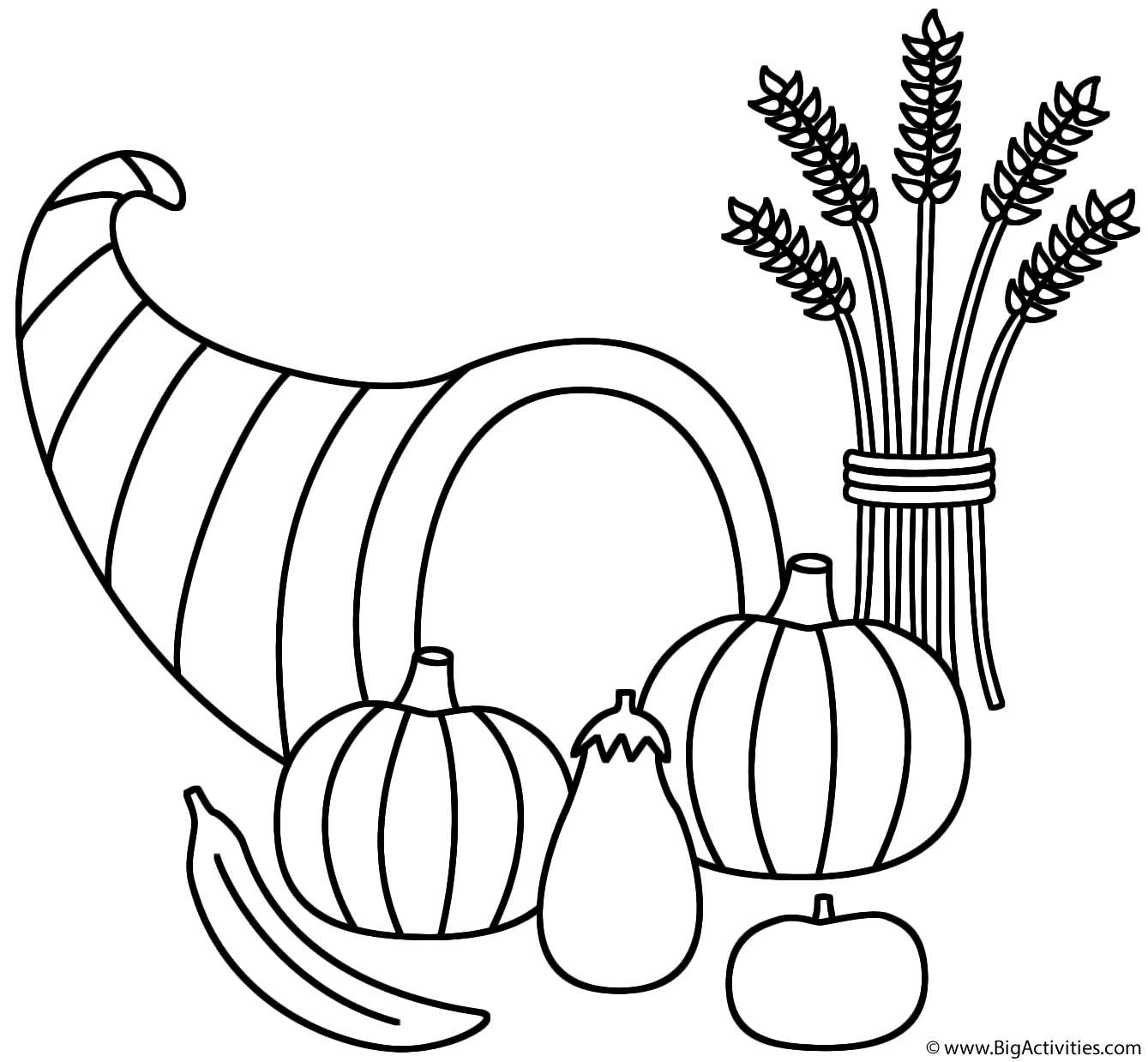 1339x1239 Horn Of Plenty With Wheat Sheaf