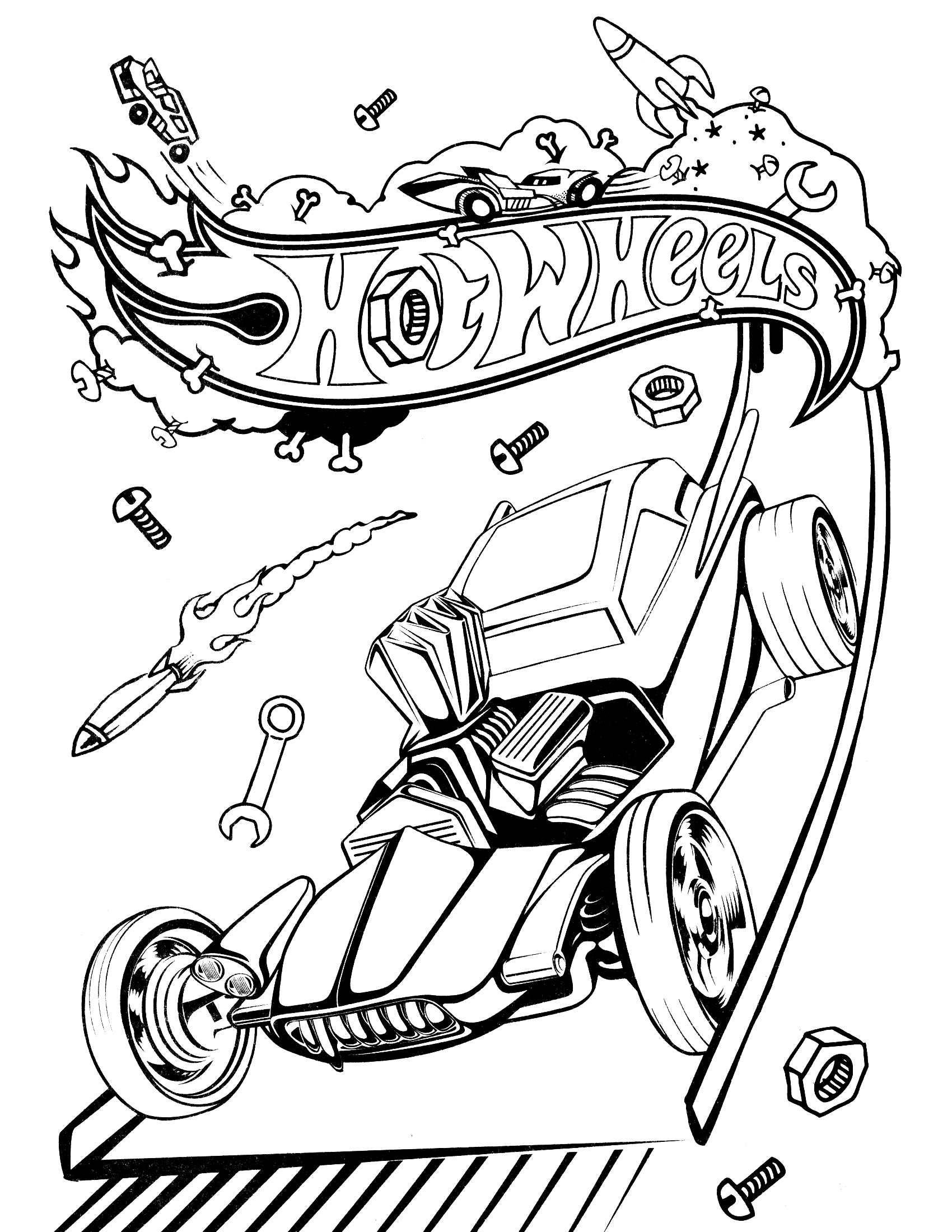 1700x2200 Free Printable Hot Wheels Coloring Pages For Kids