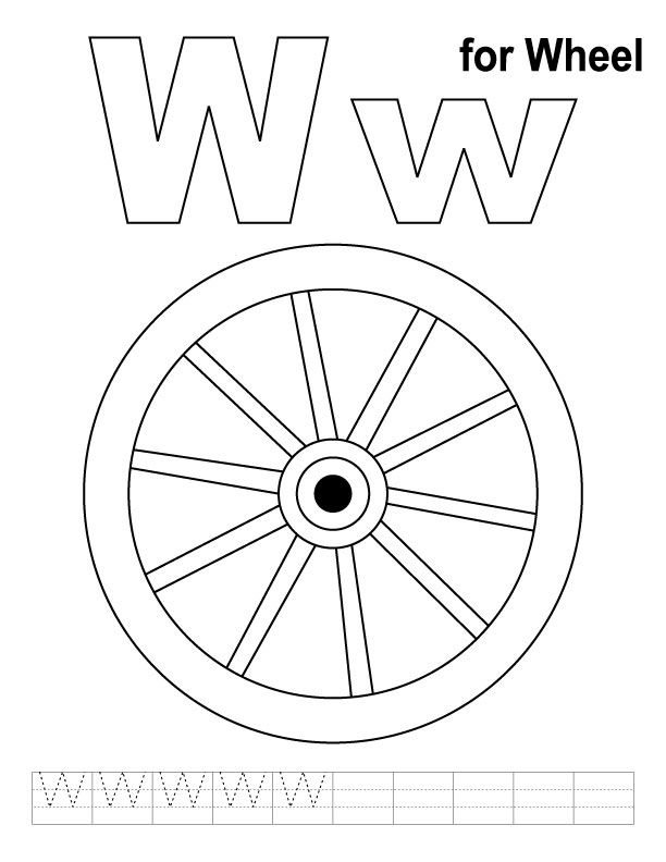 612x792 W For Wheel Coloring Page With Handwriting Practice Alphabet