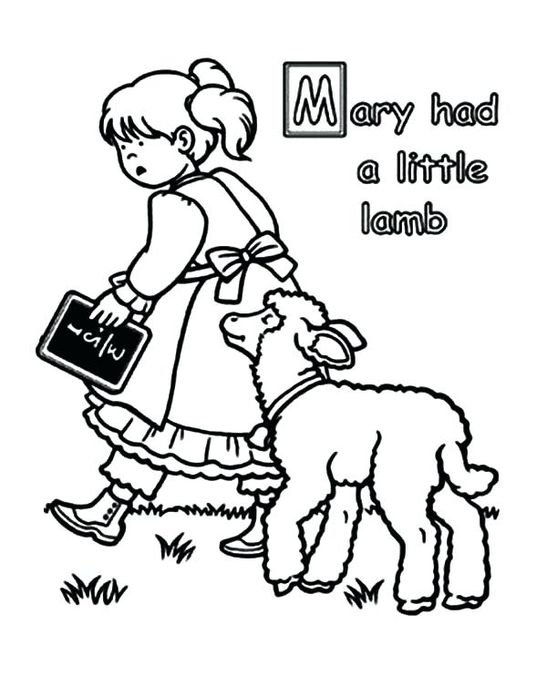 600x753 Mary Had A Little Lamb Coloring Page Had A Little Lamb Black
