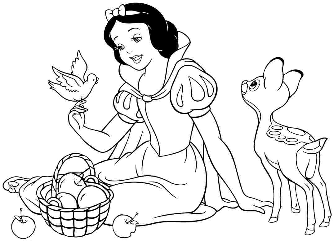 1077x778 Snow White Coloring Pages