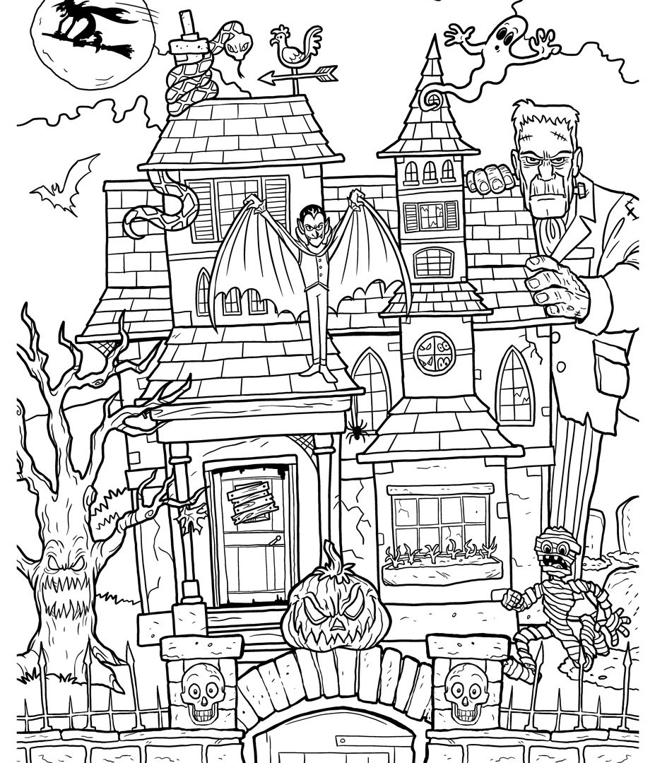 927x1080 Free Printable House Coloring Pages For Adults Drawing Adult