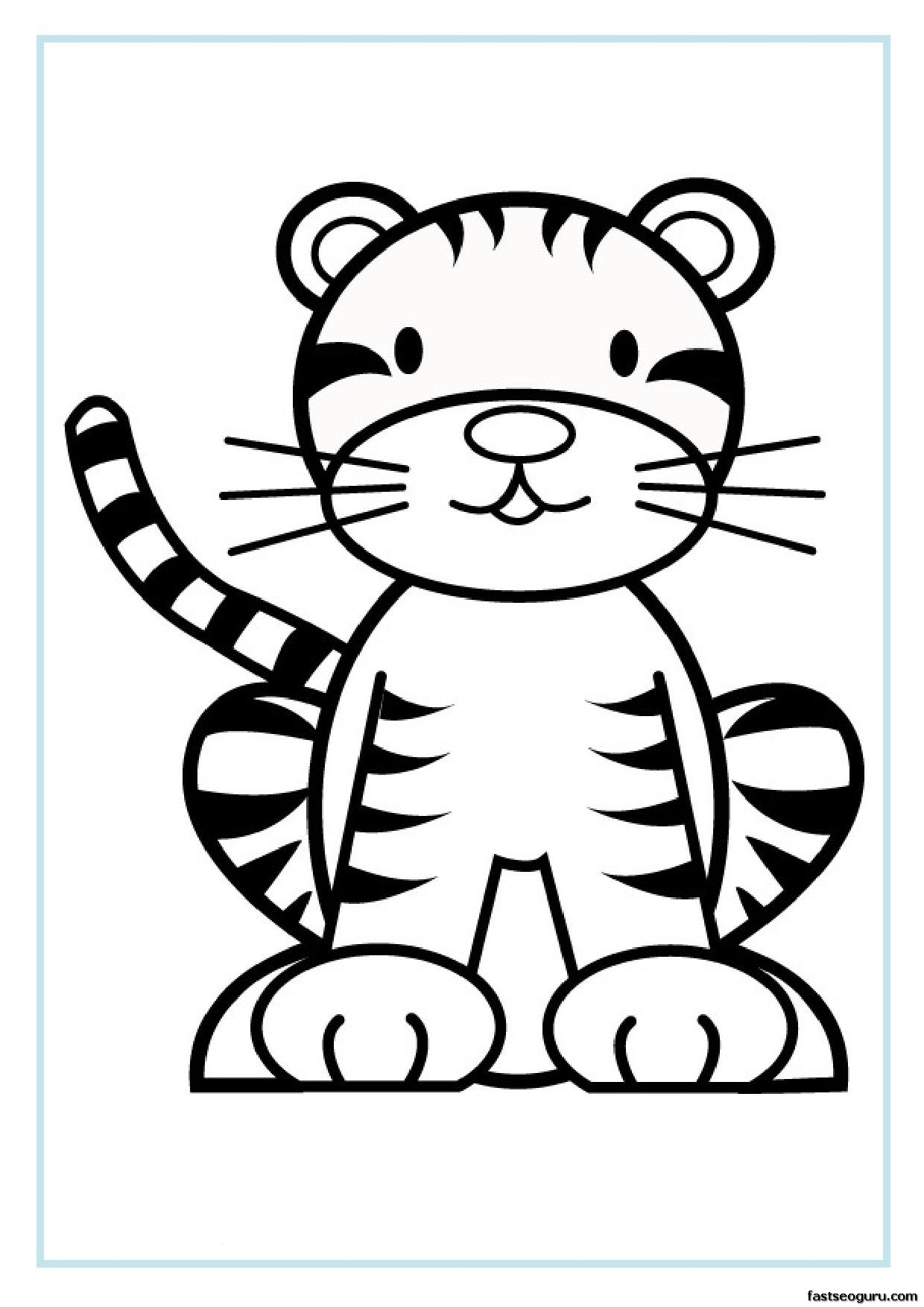 1240x1754 Coloring Pages Wild Animals Little Cute Baby Tiger Smiles Lays