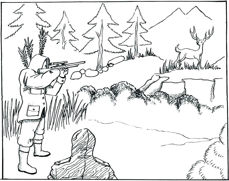 972x768 Whitetail Deer Coloring Pages