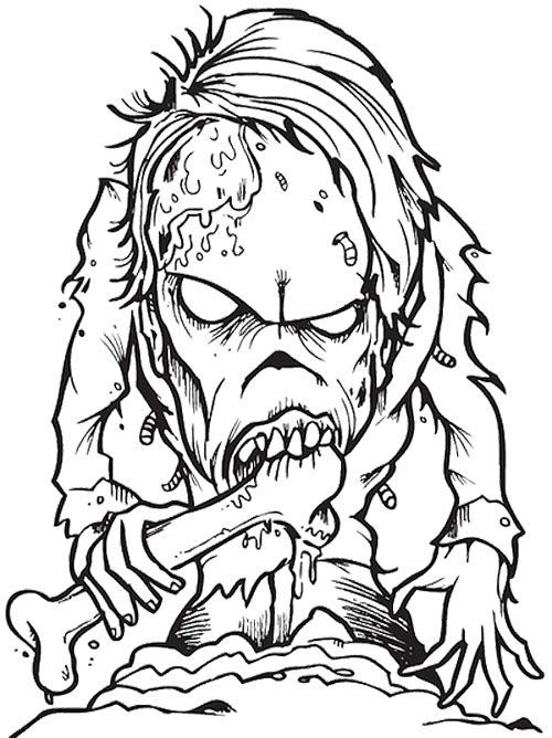 500x668 Scary Coloring Pages For Adults Zombie Creepy Coloring Page Wicked