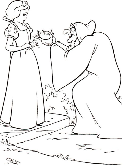 527x702 Snow White With The Wicked Witch Coloring Pages