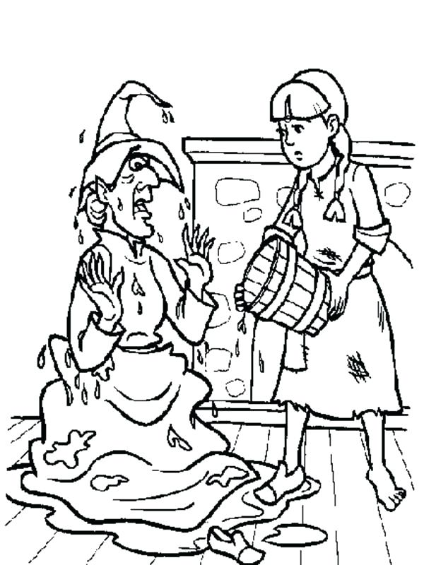 600x800 Wizard Oz Coloring Pages Splashing Water To Wicked Witch