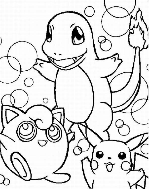 600x760 Wigglytuff Charmander And Pikachu Legendary Pokemon Coloring Page