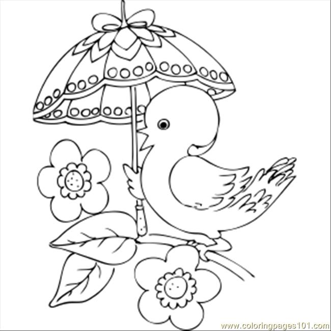 650x650 Chick With Fancy Umbrella Coloring Page