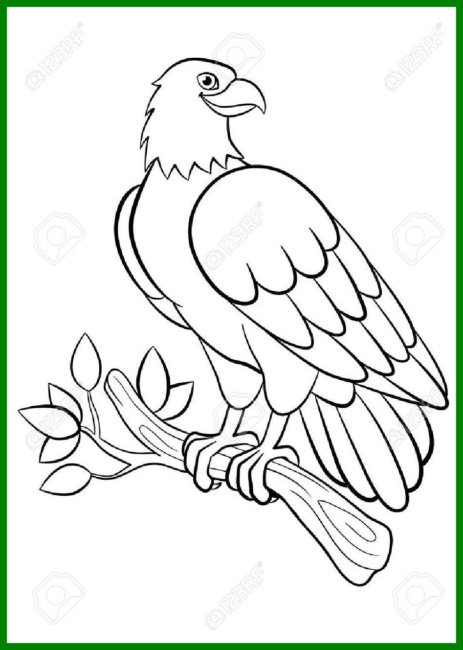 947x1328 Inspiring Coloring Pages Wild Birds Cute Smiling Eagle Sits