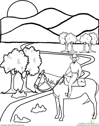 346x440 Project Ideas Wild West Coloring Pages For Kids With The Cowboy
