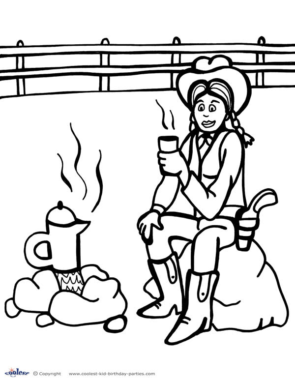 600x777 Printable Wild West Coloring Page