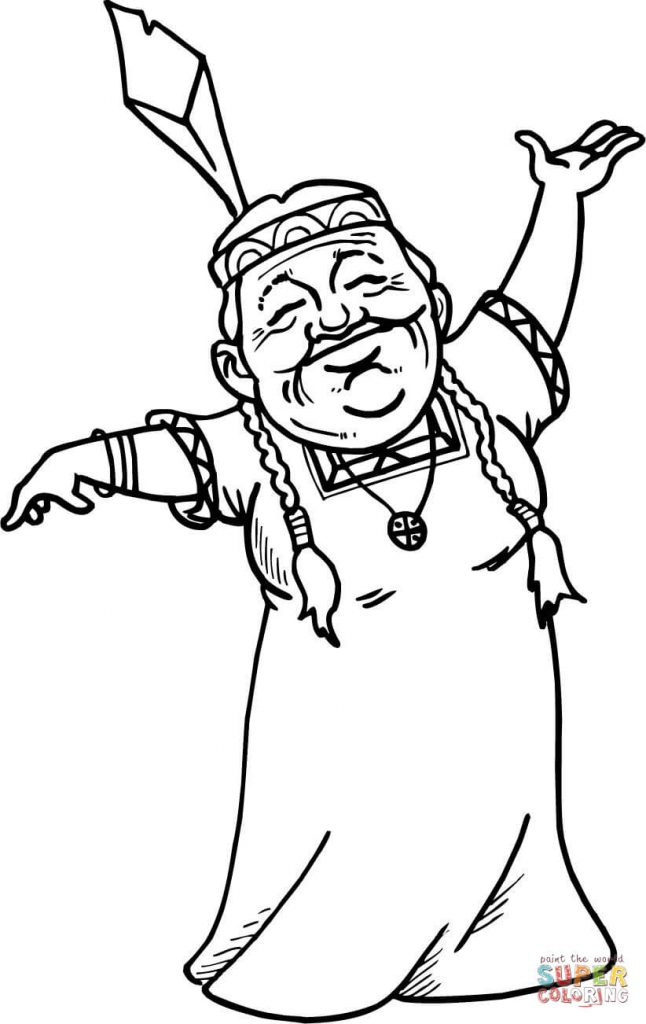 646x1024 Female Navajo Pattern Coloring Page